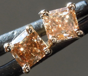 SOLD....Brown Diamond Earrings: .69ctw Fancy Brownish Yellow Cushion Cut Diamond Earrings R7296