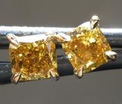 SOLD........Diamond Earrings: .91ctw Fancy Deep Greenish SI Cushion Cut Diamond Earrings R7397