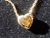 SOLD.......Diamond Pendant: .45ct Fancy Deep Yellow Brown SI2 Heart Shape Diamond Pendant R7404