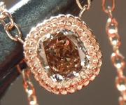 SOLD........Diamond Pendant: .31ct Fancy Light Brownish Yellow VS2 Cushion Cut Diamond Necklace R6992