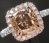 2.09ct Brownish Yellow SI1 Cushion Cut Diamond Ring R7456