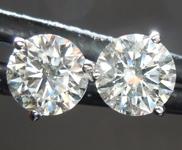 Colorless Diamond Earrings: 1.00ctw H-I SI1 Round Brilliant Diamond Earrings AGS graded R7548