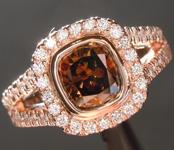 1.13ct Deep Brown SI2 Cushion Cut Diamond Ring R7489