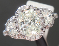 SOLD....Diamond Ring: 1.23ct J-K VS Oval Brilliant Diamond Halo Three Stone Ring R7608