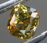 SOLD....Loose Green Diamond: .50ct Fancy Deep Green Yellow VS2 Cushion Cut Diamond R7616
