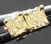 SOLD........Yellow Diamond Earrings: .50ctw Fancy Light Yellow Radiant Cut Diamond Stud Earrings R7657