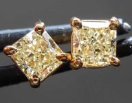 SOLD.......Yellow Diamond Earrings: 1.01ctw Fancy Light Yellow VS Radiant Cut Diamond Stud Earrings R7626