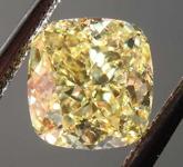 SOLD.........Loose Yellow Diamond: 1.06ct Fancy Intense Yellow Internally Flawless Cushion Cut Diamond GIA R7740