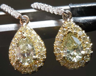 SOLD.....97cts Fancy Light Yellow SI1 Pear Diamond Earrings R7695