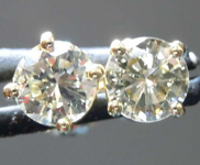 SOLD....98ctw Grayish Greenish Yellow Round Brilliant Diamond Earrings R7772