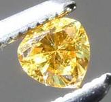0.09ct Vivid Orangy Yellow VS2 Heart Shape Diamond GIA R7795