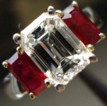 SOLD.....Three Stone Ring: 2.02 Emerald Cut Diamond with Natural Rubies in Platinum R1324