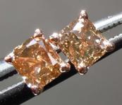 SOLD... .42ctw Natural Brown Cushion Cut Diamond Earrings R7723