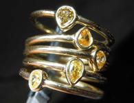 .61ctw Orangy Yellow Pear Diamond Ring Set R7581