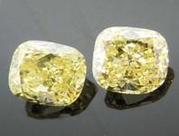 SOLD.......86ctw Fancy Yellow Cushion Cut Diamond Earrings R7705