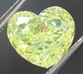 SOLD....1.08ct Intense Green-Yellow Heart Shape Diamond R8025