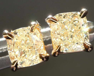 SOLD........1.07cts Light Yellow Cushion Cut Diamond Earrings R8041