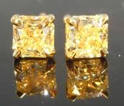 SOLD.....70ctw Light Yellow Radiant Cut Diamond Earrings R8050