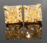 SOLD.....1.16ctw Light Yellow Cushion Cut Diamond Earrings R8049