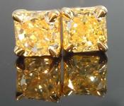 SOLD....56ctw Light Yellow Radiant Cut Diamond Earrings R8052