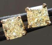 SOLD....1.14ctw Light Yellow Radiant Cut Diamond Earrings R8115