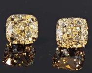 SOLD....2.04ctw Light Yellow VVS Cushion Cut Diamond Earrings R8248