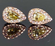 SOLD...0.63ctw Natural Yellow and Pink Pear Diamond Earrings R8204