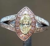 0.47ct Light Yellow I1 Marquise Diamond Ring R8206