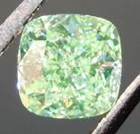 SOLD....1.01 Yellow-Green IF Cushion Cut Diamond R8307