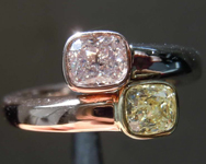 SOLD.....1.04ctw Yellow and Pink Cushion Cut Diamond Ring R8255