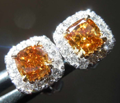 1.10cts Brown Orange Cushion Cut Diamond Earrings R8226