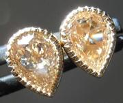 SOLD...1.39ctw Brownish Yellow VS Pear Shape Diamond Earrings R8282