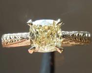 SOLD.....1.00ct Y-Z SI2 Cushion Cut Diamond Ring R8268