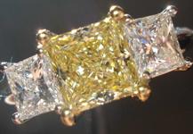 SOLD....Three Stone Diamond Ring- GIA 1.14ct VS1 Princess Cut Fancy Yellow Diamond Ring w/Princess R1333