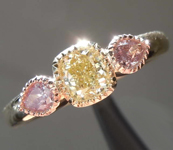 0.66ctw Natural Yellow and Pink Diamond Ring R8371
