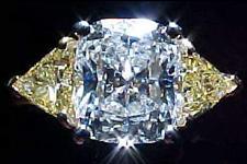SOLD...Three Diamond Ring: GIA 2.16ct Cushion Diamond w/ Fancy Yellow Trills R1378