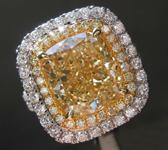 5.24ct Fancy Light Yellow VS1 Cushion Cut Diamond Ring R8476