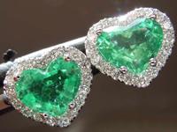 SOLD....1.74cts Heart Shape Emerald Earrings R8453