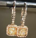 SOLD... 1.36cts Greenish Yellow Cushion Cut Diamond Earrings R5871