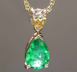 SOLD...0.32ct Pear African Emerald Necklace R8460