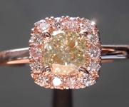 0.71ct Greenish Gray VS2 Cushion Cut Diamond Ring R8549