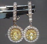 SOLD...1.16ctw Yellow and Colorless Diamond Earrings R8797