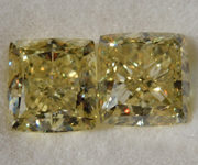 SOLD.....4.08ctw Yellow Cushion Cut Diamond Earrings R8860