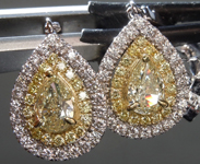 SOLD....2.15ctw Yellow and Colorless Pear Diamond Earrings R8851