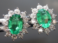 2.06cts Oval Brilliant Emerald Earrings R8872