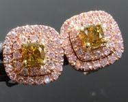 0.46cts Greenish Yellow VS Cushion Cut Diamond Earrings R8948