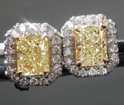 SOLD....1.17cts Light Yellow VS Radiant Cut Diamond Earrings R8850