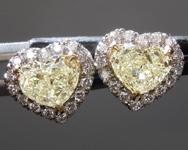 SOLD....1.12cts Light Yellow VS Heart Shape Diamond Earrings R8849