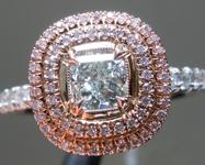 0.51ct Light Green SI2 Cushion Cut Diamond Ring R9061