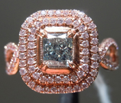 0.80ct Green Radiant Cut Diamond Ring R9062